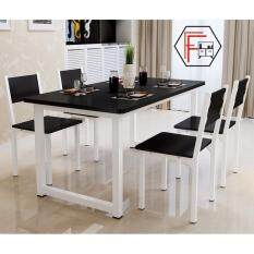 Furniture Farm : Agustín [120cm] Contemporary White Steel Round Edged  Rectangular Design Dining Table ONLY Part 98