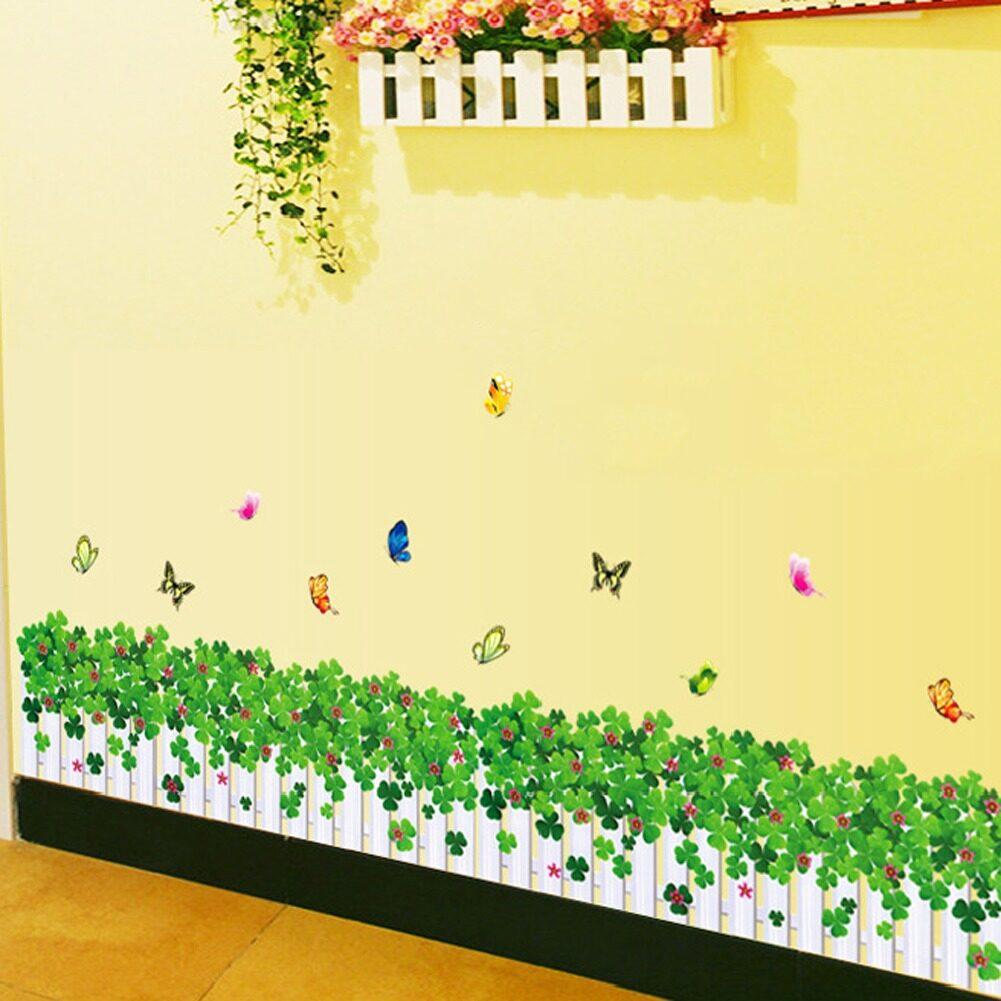 eShop Checker Green Grass Skirting Line Flowers Butterflies Wall ...
