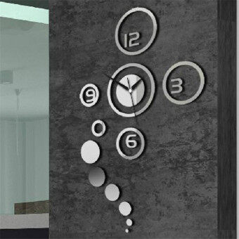 Hequ DIY Personalized Mirror Living Room Wall Art Stickers Silver Circles  Clock 3D Home Modern Decoration Part 92