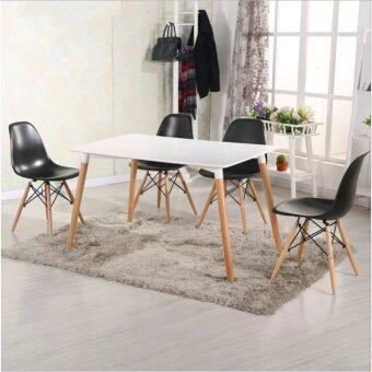 Harga Home & Living: Set of Simple Eames Dining Table with 4 CreativeCurvy Eames Designer Chairs [Black]