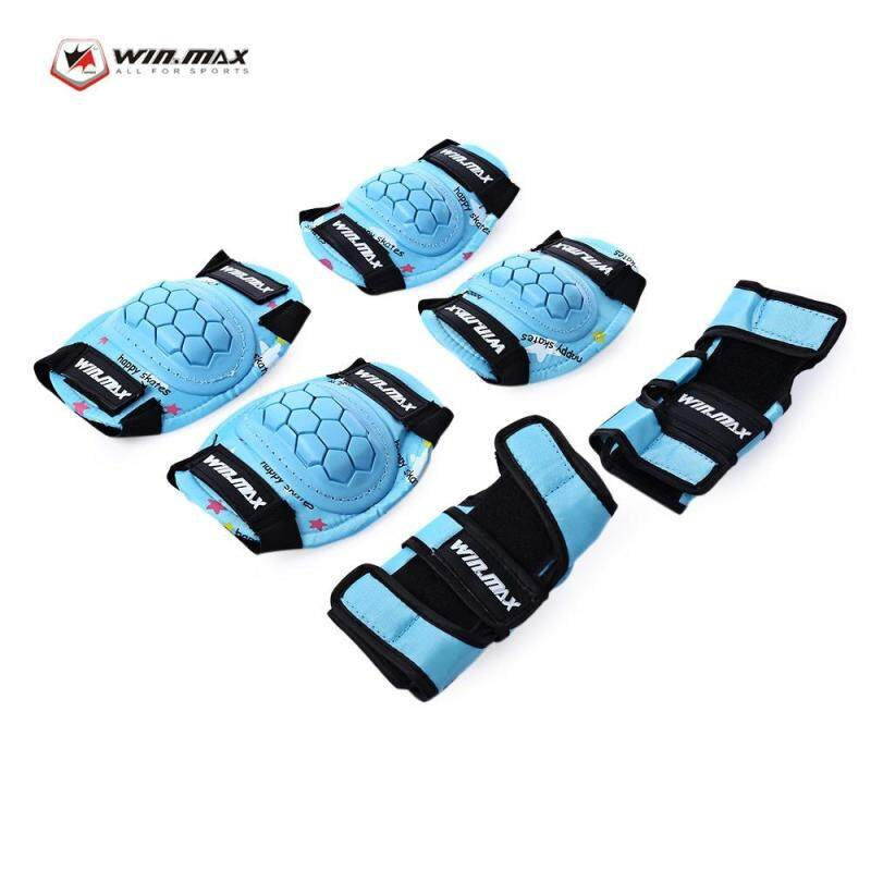 Home Living Knee Elbow Pads Winmax 6Pcs / Set Children Protective Gear Wrist Hand Elbow Knee Pad For Scooter Skating Cycling(Lake Blue)