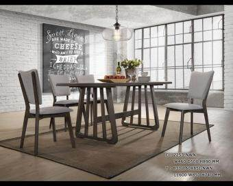 Homez Nordic Style Solid Wood Dining Table SSH833+2253 with 6 Chairs - Grey