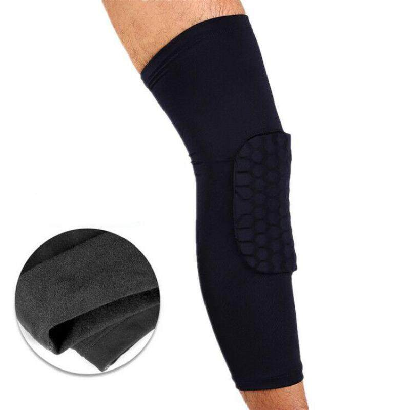 Honeycomb long knee padded cashmere thickened collision basketball knee Leggings outdoor sporting goods (Size:L) A11YDHJ0727