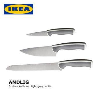 IKEA ANDLIG 3-piece knife set (Bread Knife, Cook Knife and Paring Knife), light grey, white