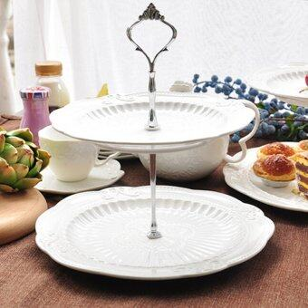 Harga 1set Cake Plate Stand Handle Fitting Hardware Rod Plate Stand 2Silver