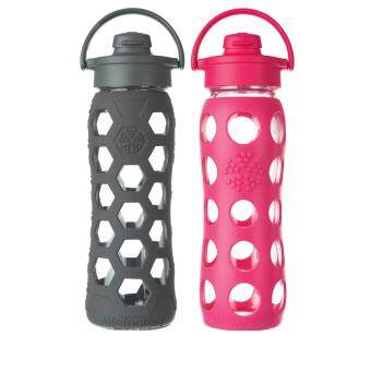 Harga Lifefactory Glass Bottle - Bundle - 22oz (650ml) - Flip Cap - (Carbon Hex) & (Raspberry)