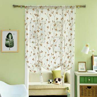 Harga 1 PCS 100X160 Embroidered Kitchen jacquard window panel tulle curtain
