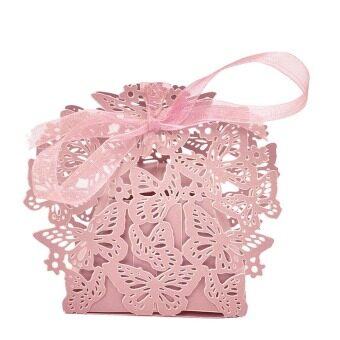 Harga 50pcs Butterfly Ribbon Gift Candy Paper Box Wedding Party Favor Paper Bag Pink