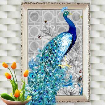 Harga 32x45cm DIY 5D Diamond Embroidery Diamond Mosaic New Peacock Soul Love Round Diamond Painting Cross Stitch Kits Home Decoration (Left)