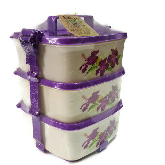 Harga Lava Tiffin Carrier 3 Layer Lunch Box Container (Deep Purple)