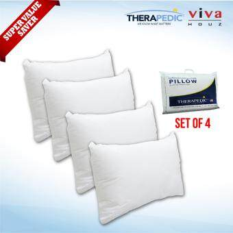 Harga Therapedic, USA, 100% Hollow Siliconised Fibre Luxurious Pillow, XL Size (75cm x 51cm) (Set of 4)