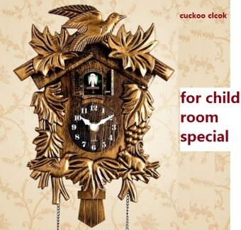 Harga cuckoo clock hourly day time tell time cartoon cute hut child room wall clock sitting room watch children room bedroom supe