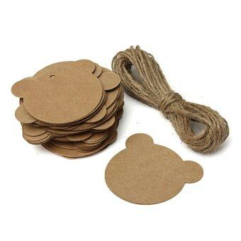 Harga 50Pcs Kraft Paper Hang Tags Brown Wedding Party Favor Gift Label + Strings