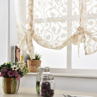 Harga 1 pcs Jacquard tulle short curtain white panel roman treatments window Kitchen cream
