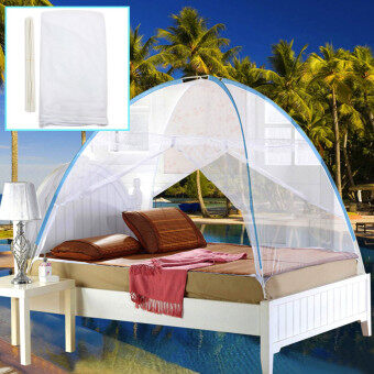 Harga White Yurt Canopy Mosquito Net Mesh Tent For Twin Queen Small King Bed Size NEW