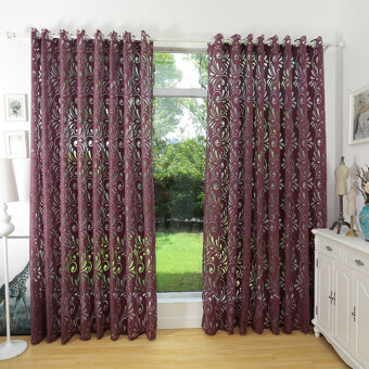 Harga 1 pcs Ready made semi-blackout blind panel fabrics for window curtain plum