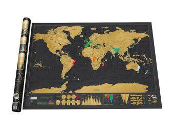 Harga sisnop Novelty World Map Educational Scratch Off Map Poster Travel Map Wall Map - Black