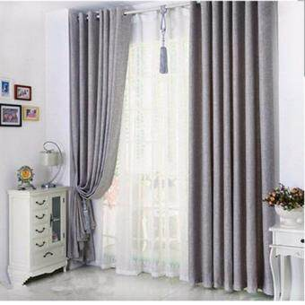 Harga 1 Pcs Set - Large Size Premium Extra Thick Elegant Curtain - 2.5 X 2.7 - Light Grey - Eyelet - Free Curtain Rope