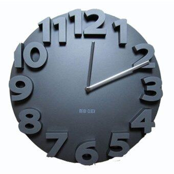 Harga 3D Numbering Wall Clock Round (Black)