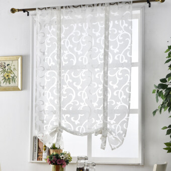 Harga 1 pcs Decorative treatments luxury kitchen window curtain jacquard Kitchen blinds curtains curtain short style roman curtains European