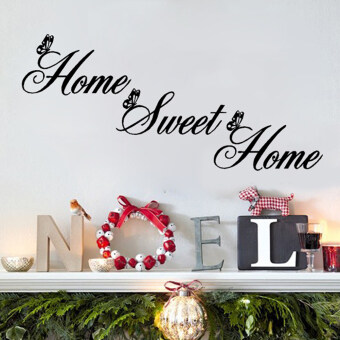 "Harga Hequ ""Home Sweet Home"" Wall Quote Sticker Wall Decals Mural Art Lounge Home Decor (Black)"