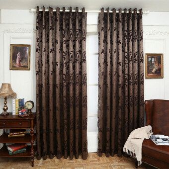 Harga 1 pcs Geometry for living room fabrics window panel semi-blackout bedroom curtain brown