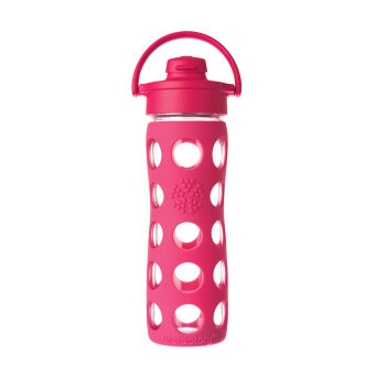Harga Lifefactory Glass Bottle - 16oz (475ml) - Flip Cap - (Raspberry)