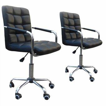 Harga Twin Package - Leather Comfort & Ergonomic Swivel Chair - Black