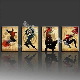 Harga 4 Pieces modern fashion HD print oil painting comic heroes iron man home decoration