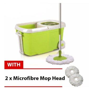 Harga Easy Spin Mop With Wheel & Plastic White Basket (Green) + FREE 2 Mop Heads