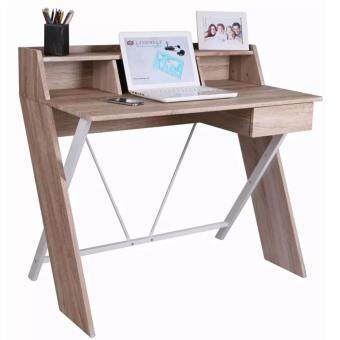 Harga Simple and Adorable Home & Living Steel Wooden Cross Legs Computer Table with Drawer