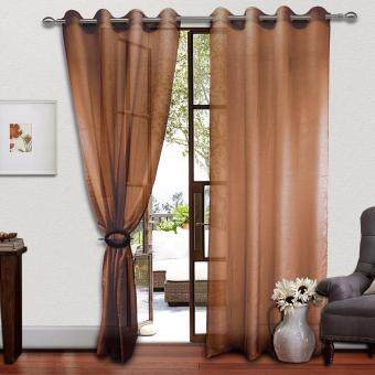 Harga 2 PIECES : Cozzi Eyelet Day Curtain 140cm x 260cm - FREESTYLE BROWN(Fit window/sliding door up to 250cm width)