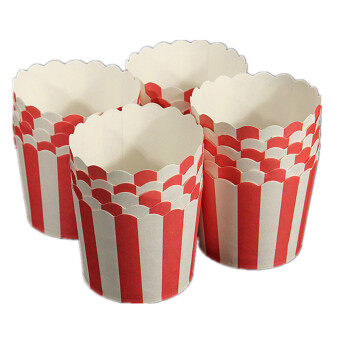 Harga 50Pcs Paper Cake Cup Cupcake Cases Liners Muffin Dessert Baking Red and white striped