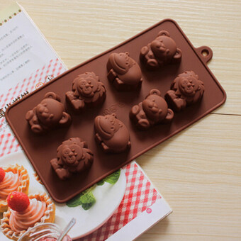Harga 8 - Animals Mould Silicone Lion Bear Hippo Cow Mold For Chocolate Cake Crafts