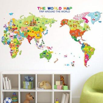 Harga JinGle Animal World Map Removable Kids Room Wall Sticker (Multicolor)