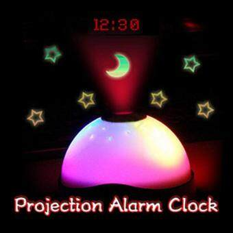 Harga Hot sales Starry Digital Magic LED Projection Alarm Clock Night Light Color Changing horloge reloj despertador