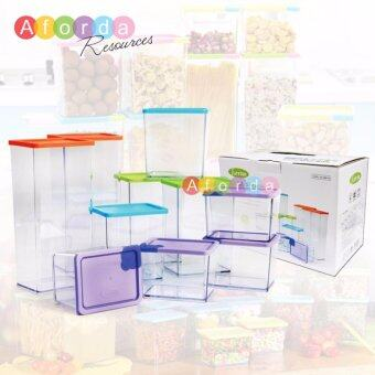 Harga Aforda Resources Plastic Stackable and Space-Savvy Pocket Block Spice & Food Storage Box Container 6 Pcs