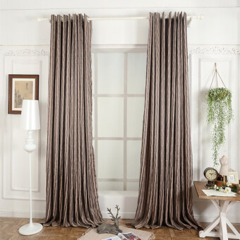 Harga 1 pcs Kitchen window decoration 3D cheap modern living room curtain ready made brown