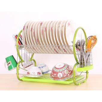 Harga Alpha Living 8 Shape 2-Layer Dish Drainer Two Tier Kitchen Storage Drying Draining Rack (Green)