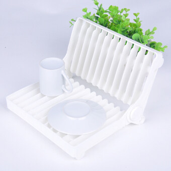 Harga Kitchen Tools Folding Draining Plastic Dish Plate Storage Rack Kitchen Dish Drying Rack White Color