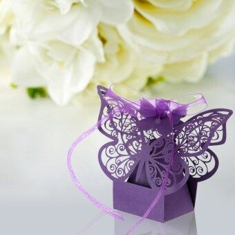 Harga 40pcs Carved Butterfly Pattern Wedding Candy Boxes Chocolate Boxes with Ribbon Party Wedding Bridal Favor (Purple)