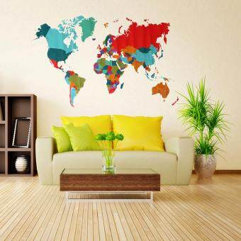 Harga Colorful World Map Home Decor Wall Sticker For Living Room Creative DIY Decal