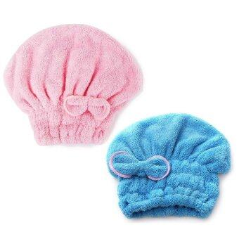 Harga Set Of 2 Hair Turban Quickly Dry Hair Hat Wrapped Towel - Blue + Pink