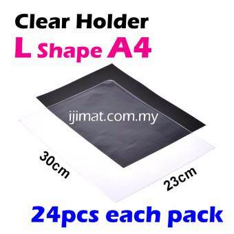 Harga L Shape Clear Folder / Transparent Holder File A4 Size / L Shape PVC Transparent Document Holder 24pcs Each Pack - I JIMAT