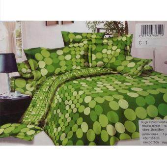 Harga Green Circle Single Fitted Bedsheet Cadar Bedding Set (Green)
