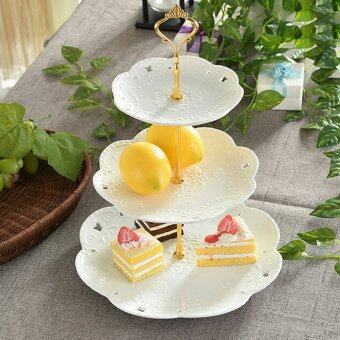 Harga 1set Cake Plate Stand Handle Fitting Hardware Rod Plate Stand 3Gold