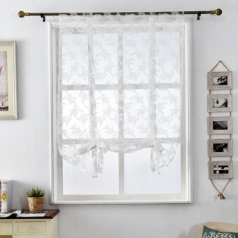 Harga 1 pcs Window jacquard curtain blinds door floral home roman textile white short sheer Kitchen tulle