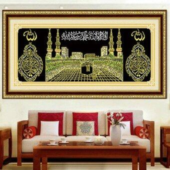 Harga YGS-80 DIY 5D Diamonds Embroidery Islam Muslim holy Kaaba mosque Round Diamond Painting Cross Stitch Kits Diamond Mosaic Decor