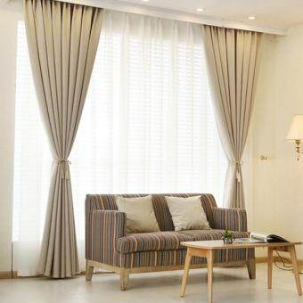 Harga 2 Pcs Set - Extra Thick Elegant Curtain - Beige - 200 x 270 cm - French pleat - Free curtain Hooks & rope