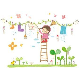 Harga Egreat Decor The Girl Of Laundry Cloth Wall Sticker